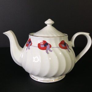 Darice Red Hat Society White Ceramic Teapot 5 Cup